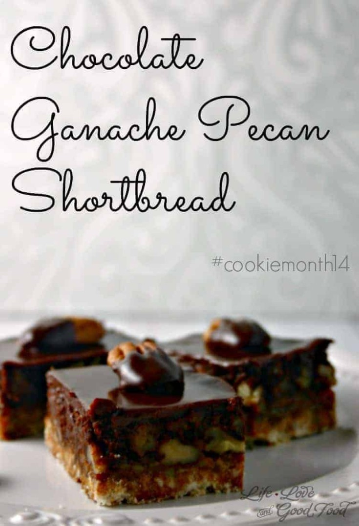 Chocolate Ganache Pecan Shortbread begins with a simple shortbread crust and is topped with caramel, pecans, chocolate, and decadent dark chocolate ganache!