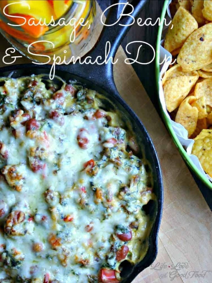 Sausage, Bean, and Spinach dip is a very hearty dip that's perfect for your next football party or tailgating!