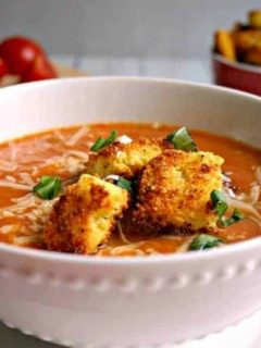 Creamy Tomato Soup with Peppery Parmesan Cornbread Croutons | Life, Love, and Good Food
