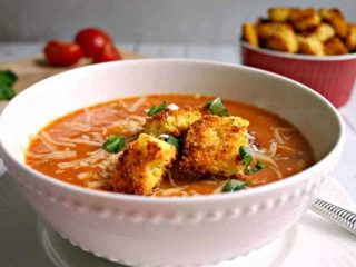 Creamy Tomato Soup with Peppery Parmesan Cornbread Croutons
