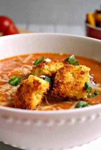 Creamy Tomato Soup with Peppery Parmesan Cornbread Croutons   Life, Love, and Good Food