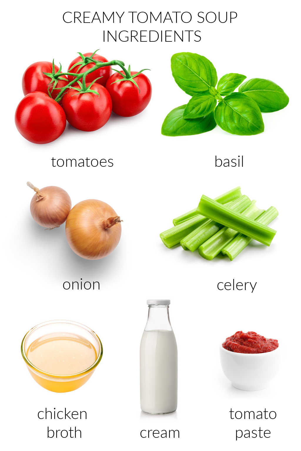ingredients for creamy tomato soup