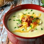 A bowl of soup, with Baked potato soup