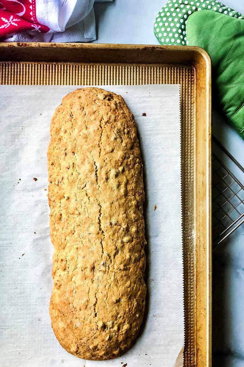a baked log of biscotti before it has been sliced
