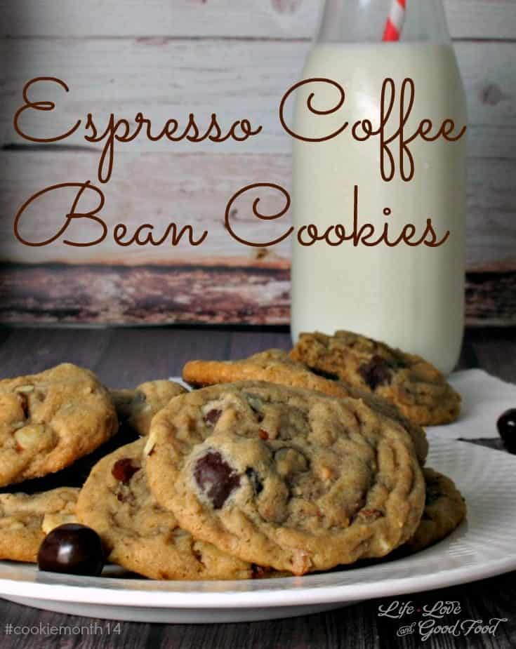 Espresso Coffee Bean Cookies with actual chocolate-covered coffee beans inside deliver a surprising burst of coffee flavor and crunch in every bite!