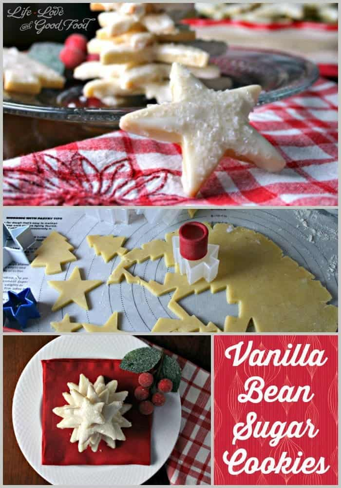 Vanilla Bean Sugar Cookies - an elegant sugar cookie flavored with vanilla bean seeds and decorated with a white chocolate glaze and sugar crystals!