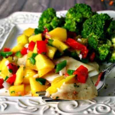 Poached Tilapia with Mango Salsa