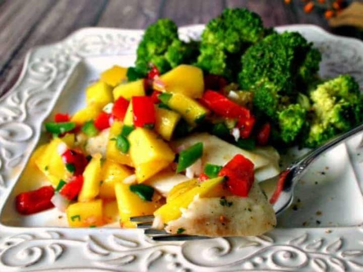 Poached Tilapia with Mango Salsa