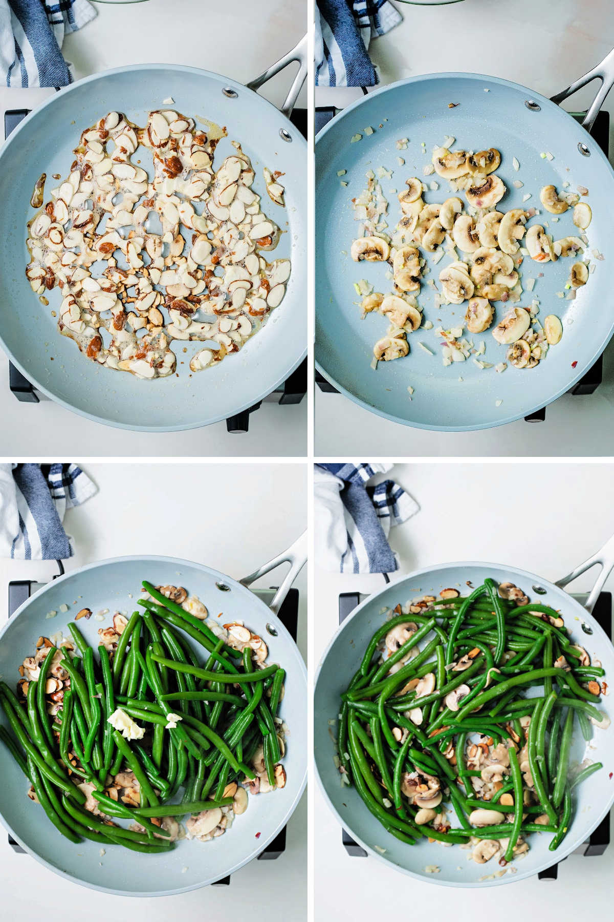 process steps for making green beans almondine: saute almonds in butter; saute shallots and mushrooms; add blanched green beans; stir in toasted almonds.