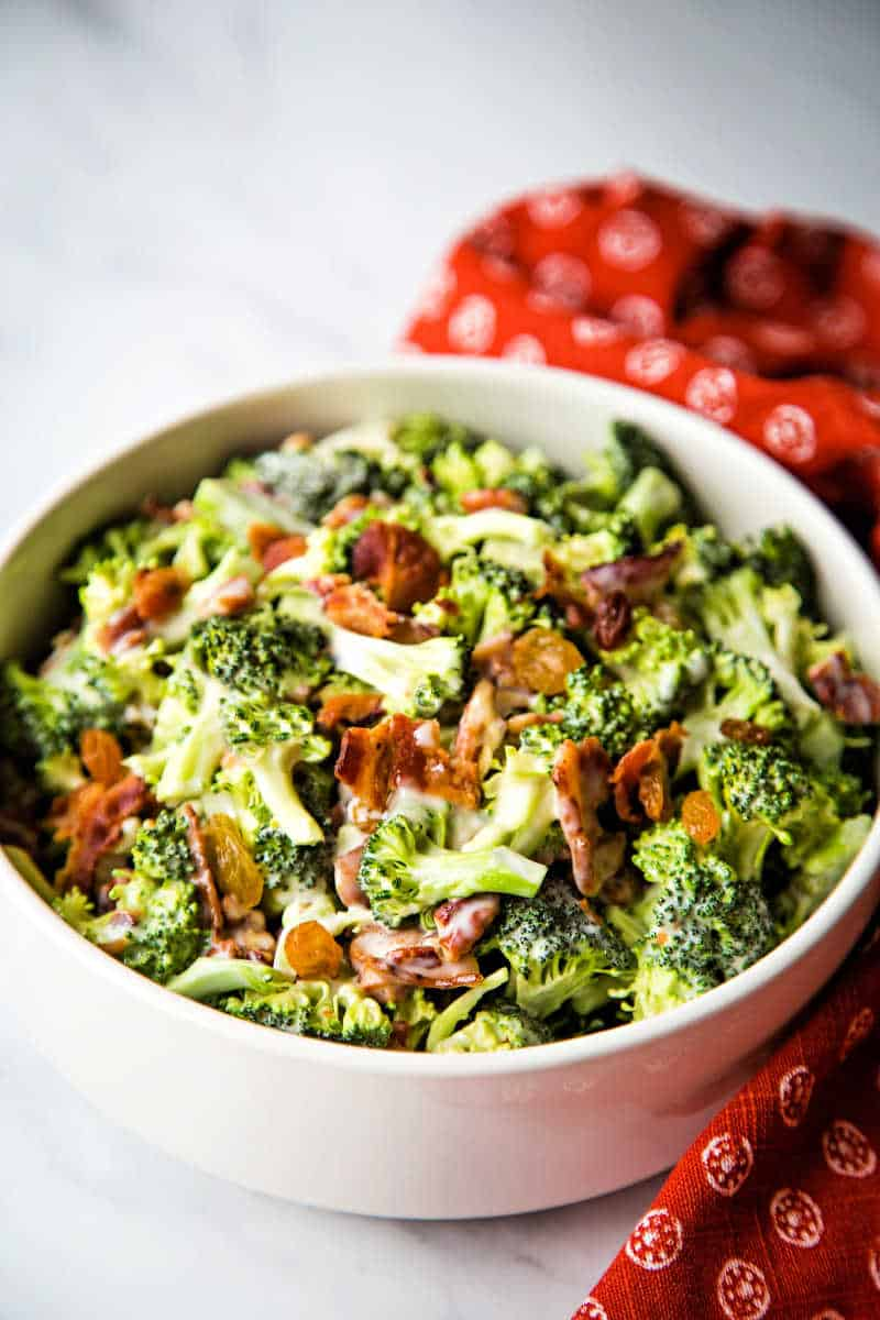 Broccoli and Bacon Salad in a white bowl