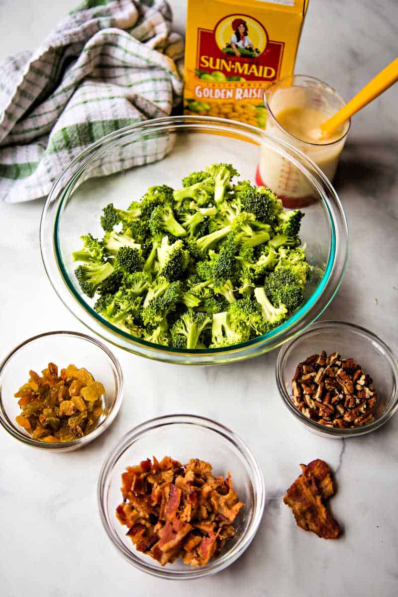 ingredients for broccoli and bacon salad