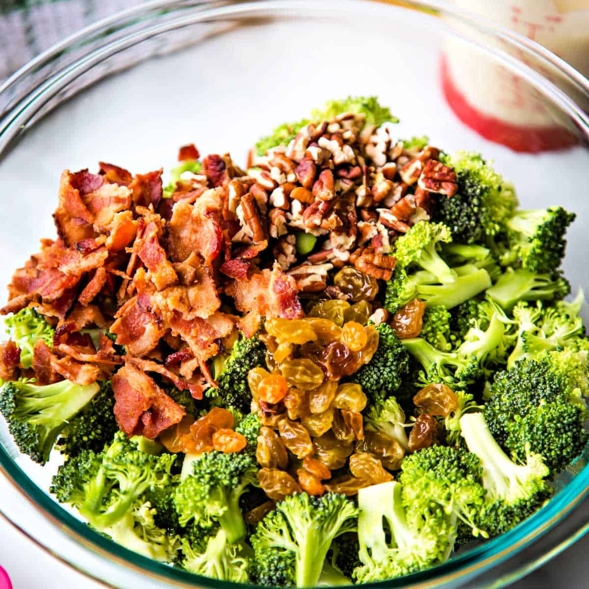 broccoli with pecans, golden raisins, and bacon