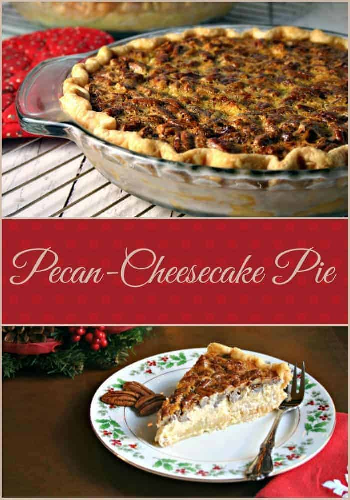 Pecan pie or cheesecake for your Christmas dinner dessert? Try Pecan-Cheesecake Pie with a creamy cheesecake layer underneath a crunchy pecan pie filling.