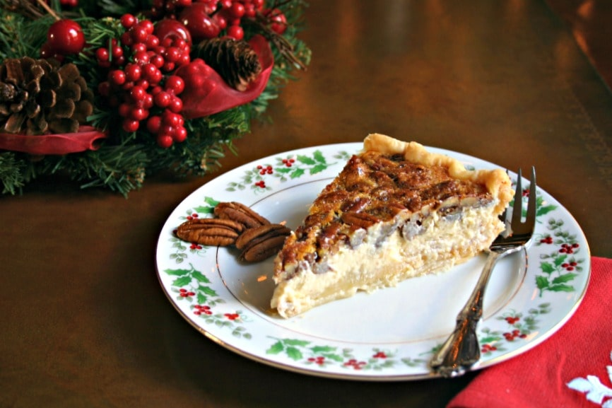 ... all that luscious, creamy cheesecake hidden underneath the pecan top