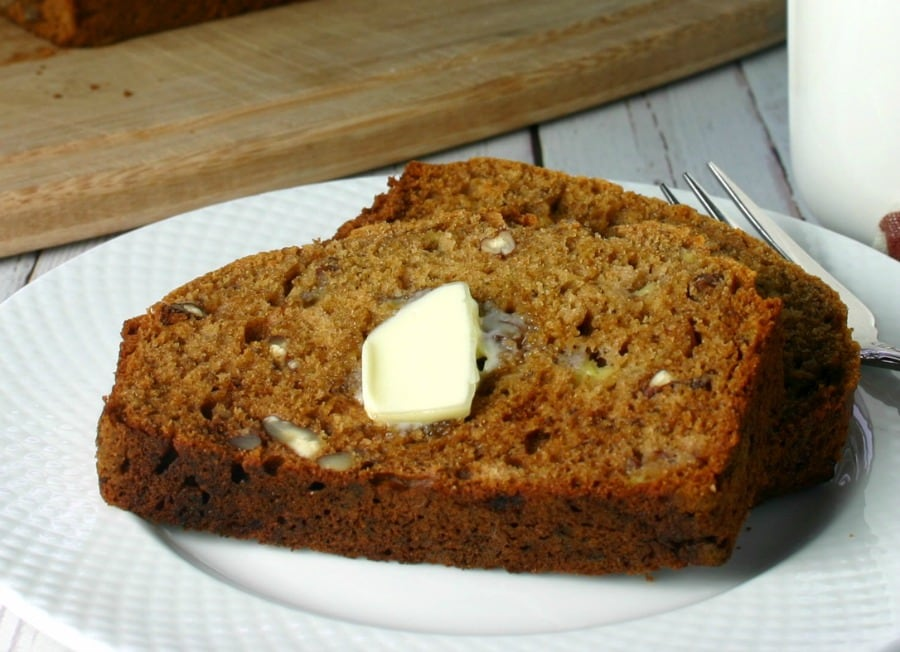 A piece of Whole Wheat Honey Banana Bread on a plate