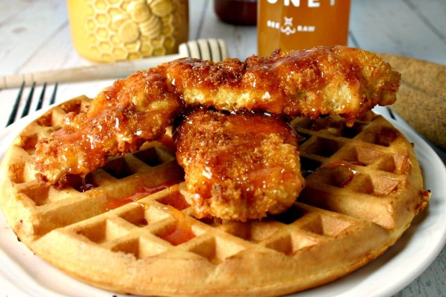 Hot Honey Chicken and Waffles. Light and crispy waffles topped with ...