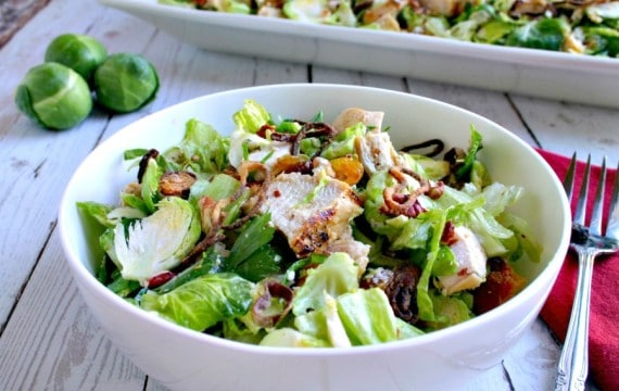 Chopped Chicken and Brussels Sprouts Salad