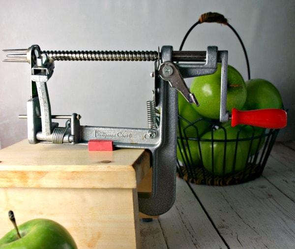 An apple peeler corer slicer