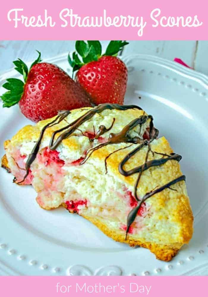 Fresh Strawberry Scones, flaky and slightly sweet, this basic scone recipe works with any type of berry.