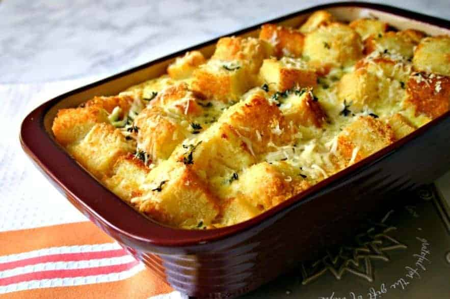 Parmesan-Herb Cornbread Pudding - Life, Love, and Good Food