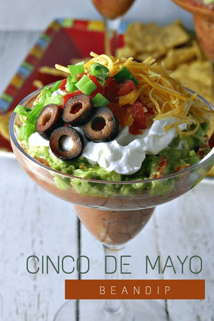 Cinco de Mayo Bean Dip. Classic layered dip with refried beans and fresh guacamole served up in a festive margarita glass!