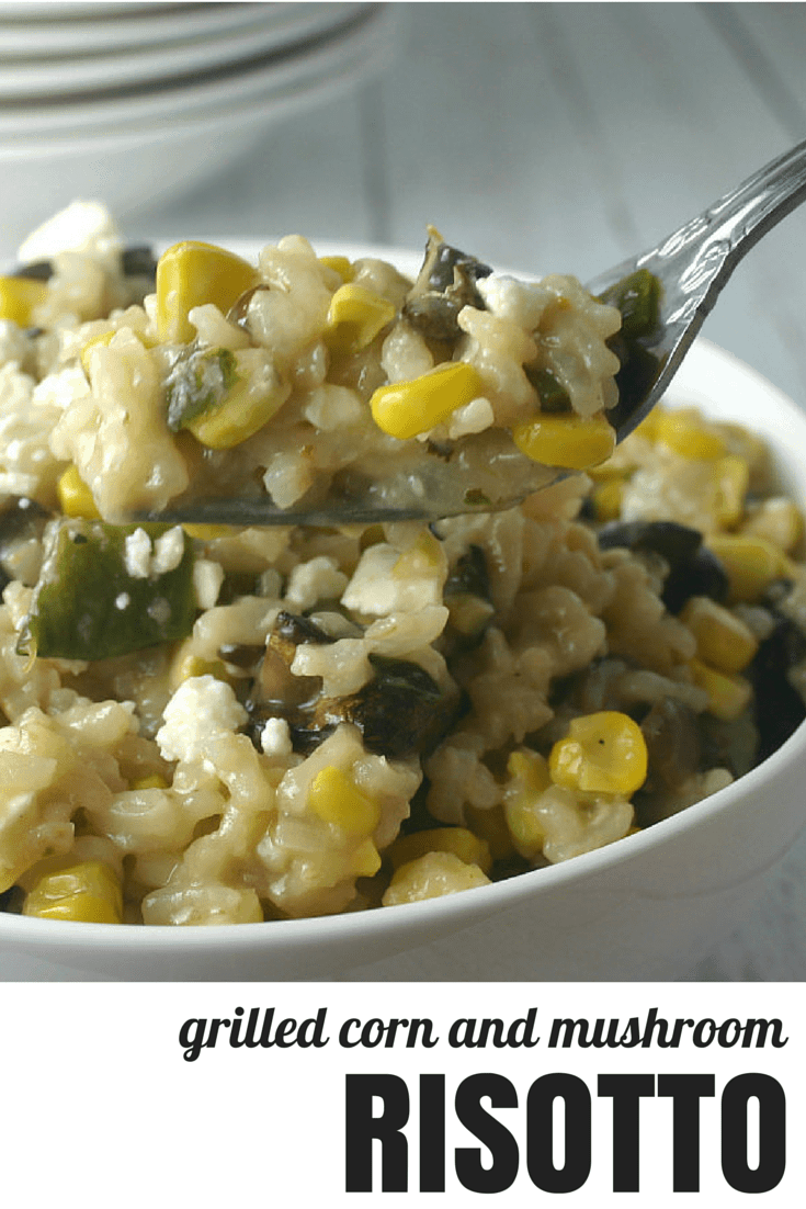 Corn and Mushroom Risotto. Veggies on the grill are the secret to this hearty, creamy risotto.