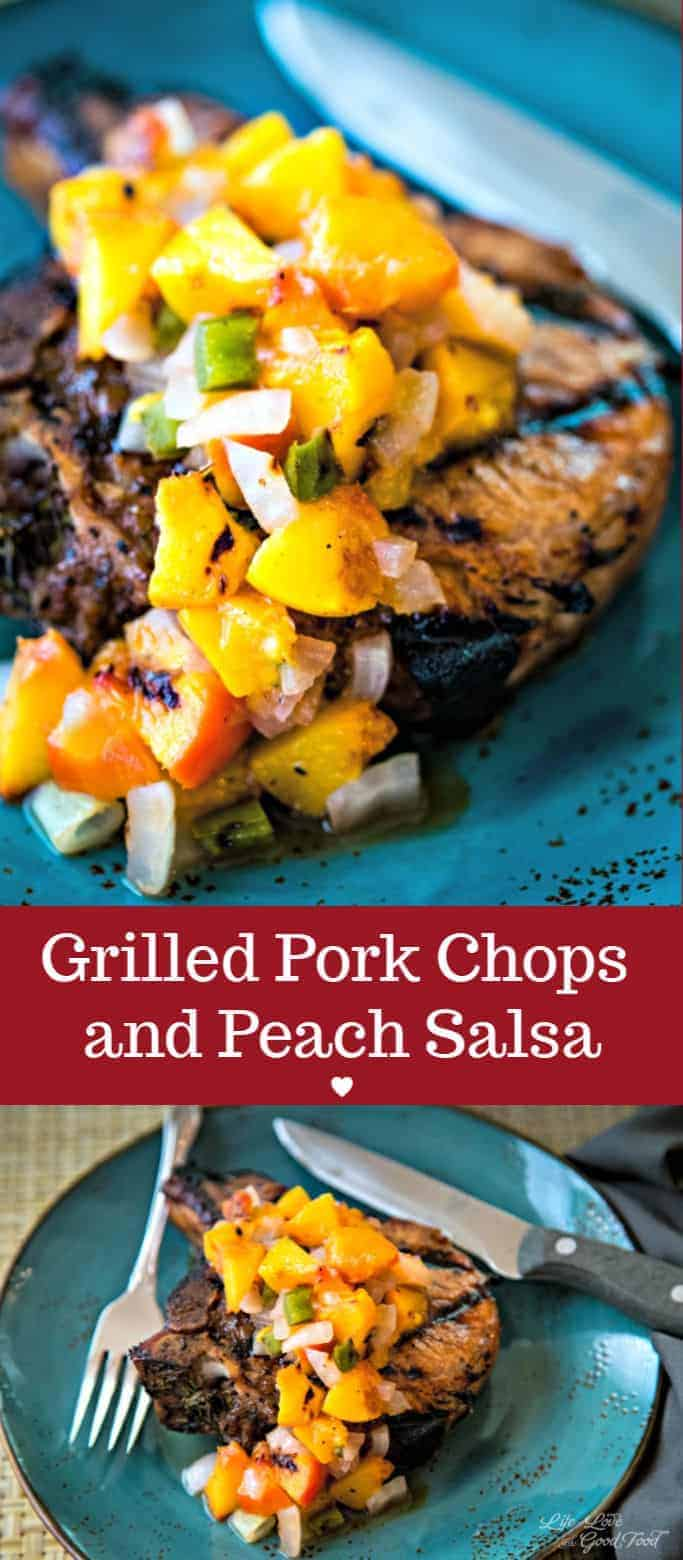 This easy recipe for Grilled Pork Chops with Peach Salsa has lime juice in the marinade to bring out all the tenderness of the juicy bone-in chops. Grill Summer peaches and sweet Vidalia onion to make a healthy salsa to top it off and you have a delicious Summer meal! #grilledporkchops #peaches #peachsalsa