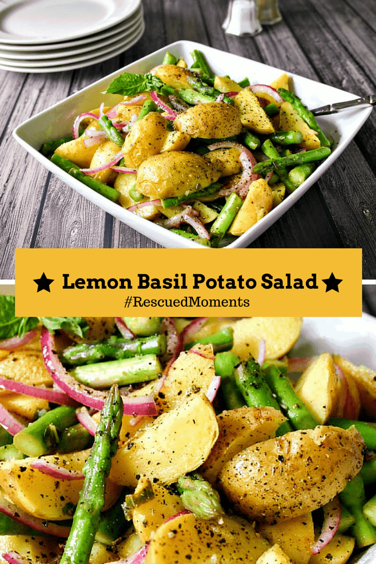 Lemon Basil Potato Salad - a summery potato salad made with Tasteful Selections honey gold potatoes and a homemade lemon basil vinaigrette. #RescuedMoments