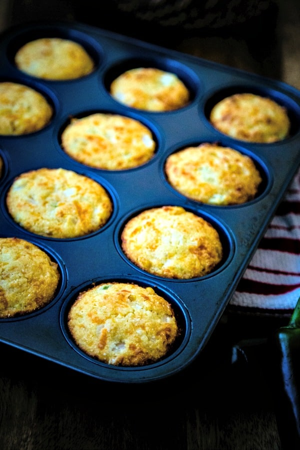 Mexican Corn Muffins in tin