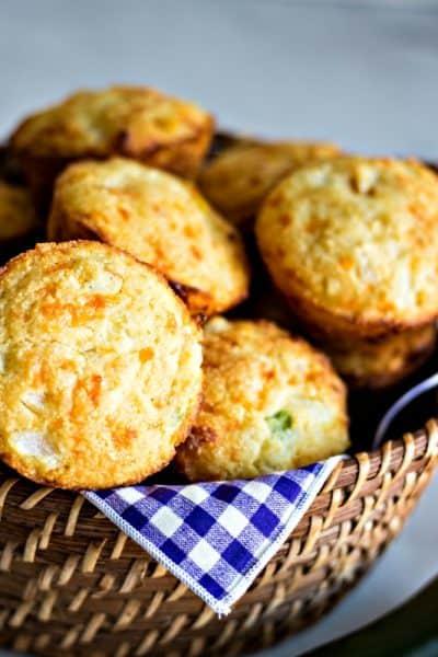 Mexican Cornbread Muffins in basket