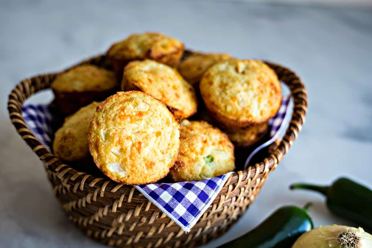 Mexican Cornbread Muffins in basket