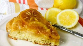 Meyer Lemon Upside Down Polenta Cake