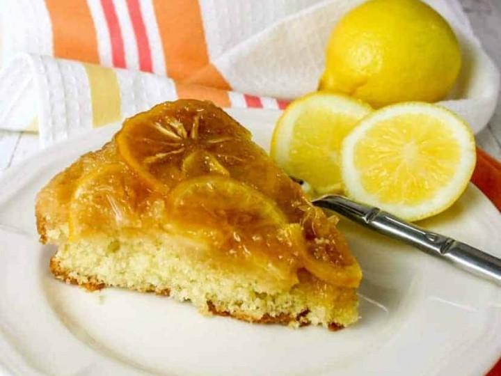 Meyer Lemon Upside Down Polenta Cake