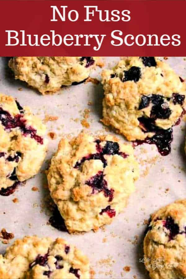 Bursting with fresh berries, these easy Blueberry Scones are a moist and delicious breakfast treat. One of the quickest scone recipes ever, this no-knead batter is made with vanilla yogurt and plenty of cold butter to create a light and flaky scone. Simply mix up the dough and scoop it out onto a parchment lined baking sheet —no shaping, cutting, or messy counter! Brush the tops with a little milk and sprinkle with turbinado sugar to get a sweet golden brown top.