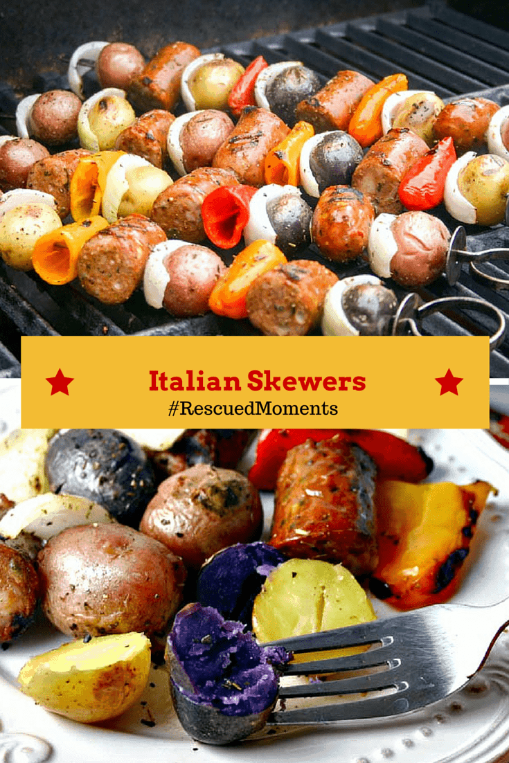 A close up of Italian Skewers on a grill