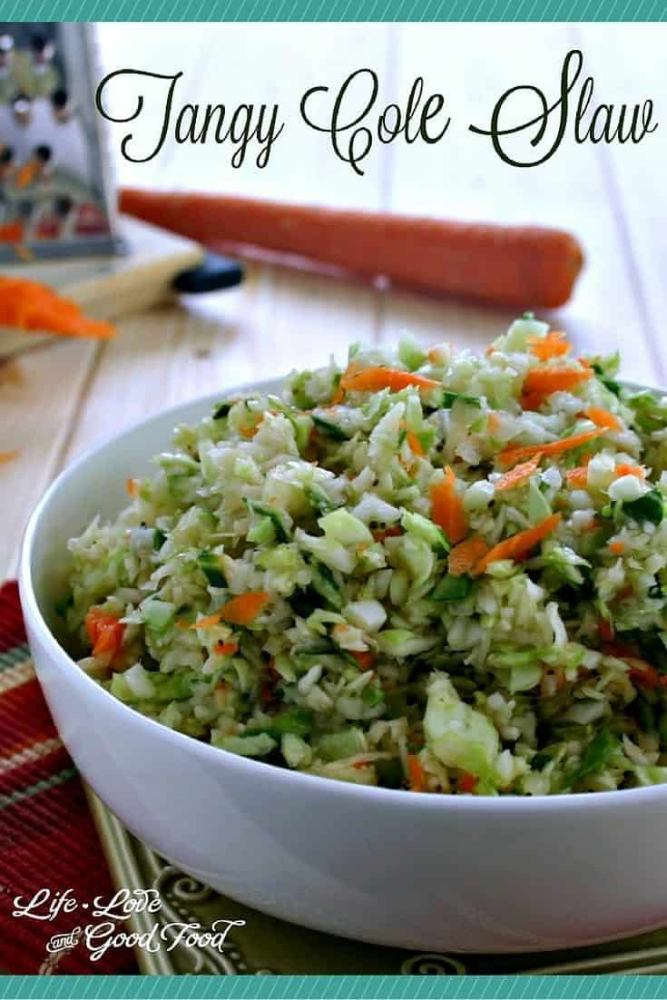 Tangy Coleslaw. No mayo in this dressing, instead this slaw is made with a tangy oil and vinegar dressing that is spiced with dry mustard and celery seed.