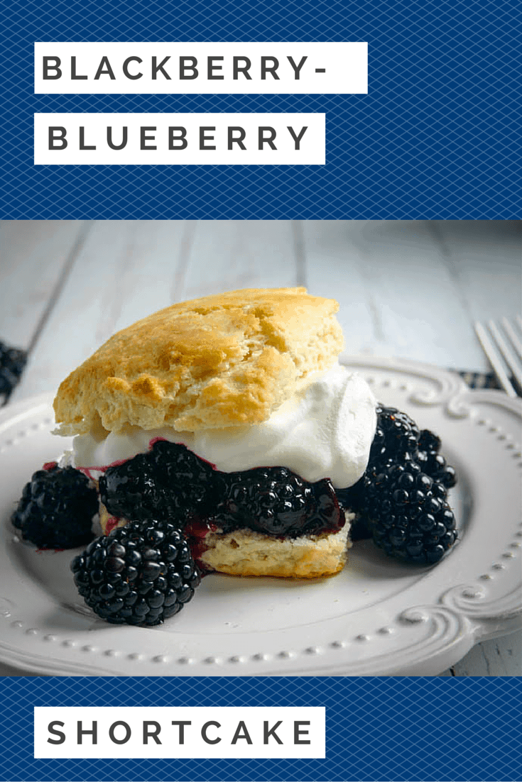 Blackberry-Blueberry Shortcakes are served on a sweet biscuit that's topped with the sweet fruit filling and a dollop of whipped cream.