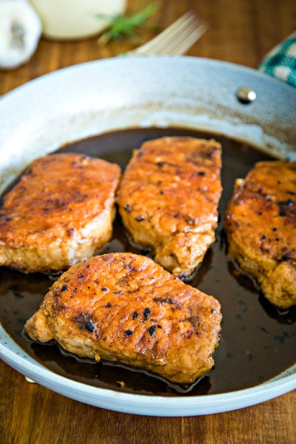 pork chops simmered in balsamic sauce