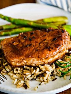 Balsamic Pork Chop on wild rice with asparagus