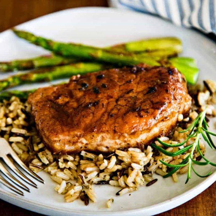 Balsamic Pork Chop on wild rice with asparagus