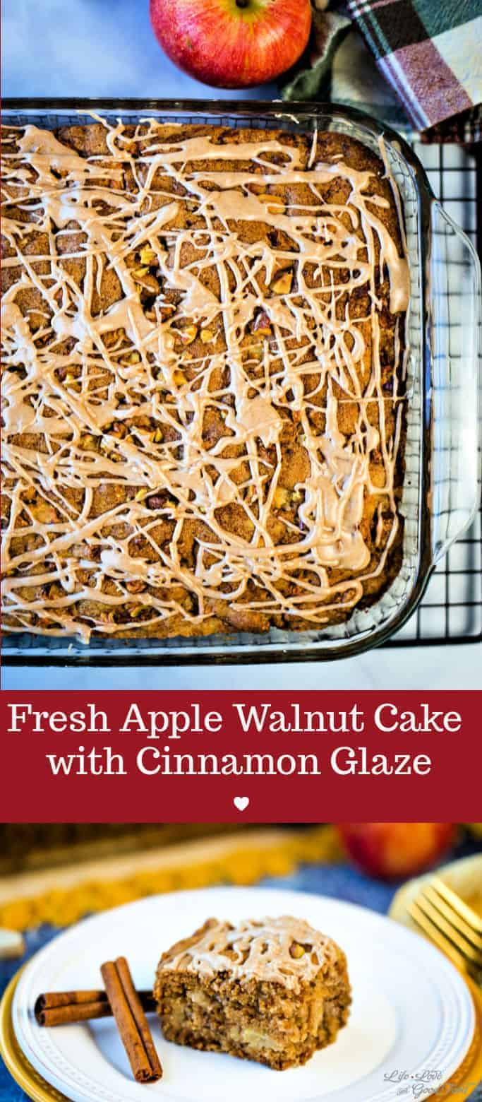 This fresh Apple Walnut Cake with cinnamon glaze drizzled on top is extremely moist and delicious! Baked in a 9x13-inch cake pan, this old-fashioned sheet cake recipe is simply the best dessert to transport to Fall parties and tailgates! #applecake #recipe #sheetcake