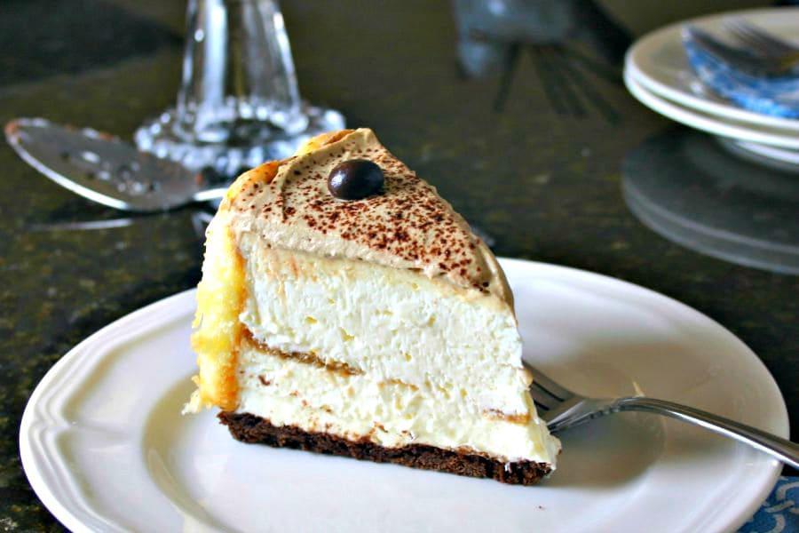 A slice of Kajlua White Chocolate Tiramisu on a plate
