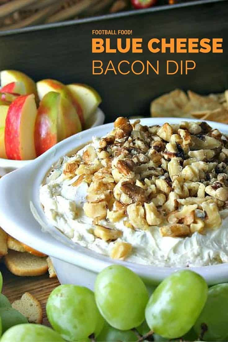 Blue Cheese Bacon Dip. Delicious football food or party appetizer. Serve with Honey Crisp apple slices, grape clusters, and assorted crackers or flatbreads.
