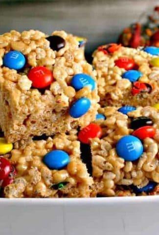 A close up of a plate of Peanutty Rice Crispy Treats
