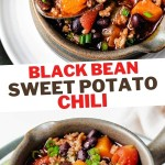 a spoonful of black bean sweet potato chili lifting out of a crock sitting on a white plate with a lime wedge.