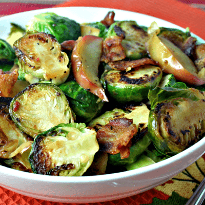 Apple Cider Glazed Brussels Sprouts