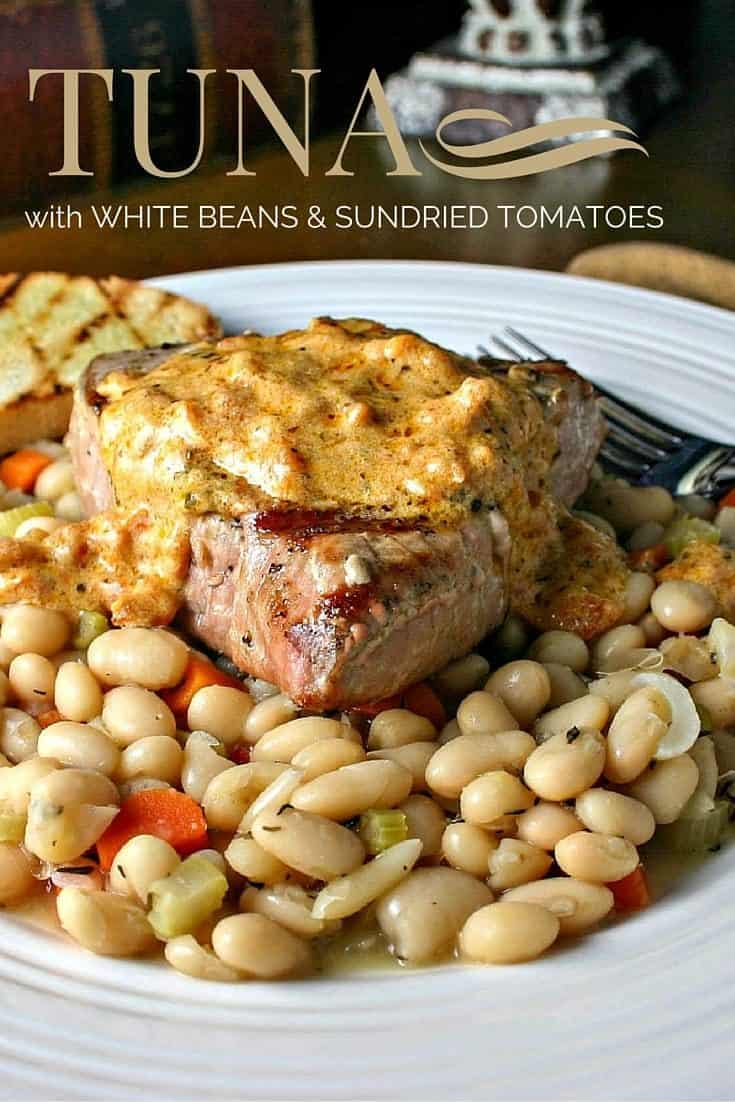 Tuna with White Beans and Sundried Tomatoes - a perfect combination of flavors in this healthy and delicious meal.