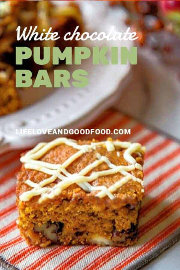 White Chocolate Pumpkin Bars are moist and delicious with just the right about of my favorite seasonal spices--cinnamon, ginger, nutmeg, and cloves. #recipe #pumpkin #dessert