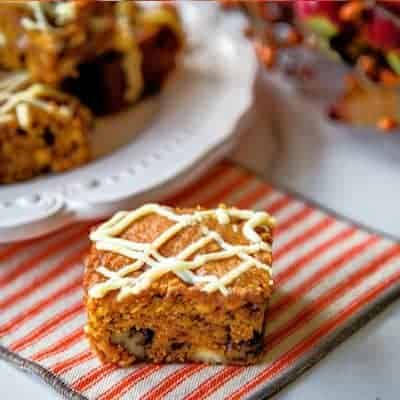 Easy Pumpkin Bars with White Chocolate Chips