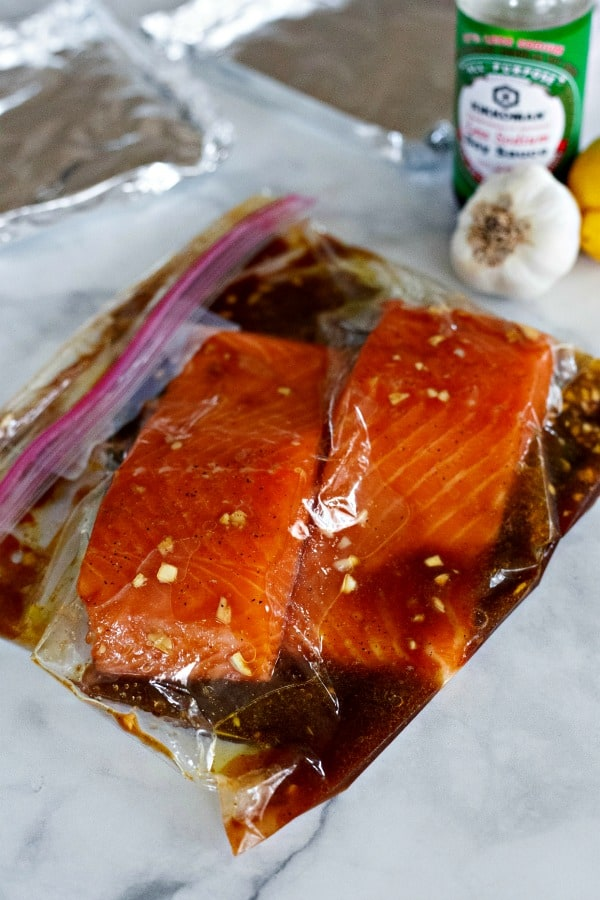 Place grilled salmon marinade in ziplock bag for at least one hour